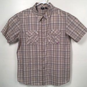 Oakley Men's Short Sleeve button down plaid shirt